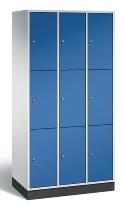 C+P Schließfachschrank 8370-301 Intro 3x 3 Fächer 300mm (HxBxT) 1950x920x500mm Lichtgrau/Enzianblau