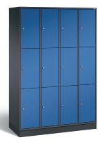 C+P Schließfachschrank 8370-401 Intro 4x 3 Fächer 300mm (HxBxT) 1950x1220x500mm Schwarzgrau/Enzianblau