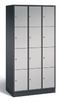 C+P Schließfachschrank 8470-301 S4000 Intro 12 Fächer 300mm (HxBxT) 1950x920x500mm Schwarzgrau/Weißaluminium
