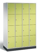 C+P Schließfachschrank 8470-401 S4000 Intro 16 Fächer 300mm (HxBxT) 1950x1220x500mm Lichtgrau/Viridingrün