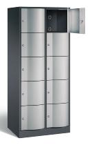 C+P Schließfachschrank 8570-272 Resisto 2x 5 Fächer (HxBxT) 1950x770x540mm Schwarzgrau/Weißaluminium