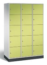 C+P Schließfachschrank XL 8570-302 Intro 3x 5 Fächer 400mm (HxBxT) 1950x1220x490mm Lichtgrau/Viridingrün