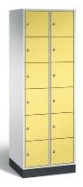 C+P Schließfachschrank 8670-201 Intro 2x 6 Fächer 300mm (HxBxT) 1950x620x500mm Lichtgrau/Schwefelgelb