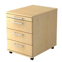 Rollcontainer BASIC 1606 mit 3 Schubladen nicht abschließbar Ahorn/Relinggriff