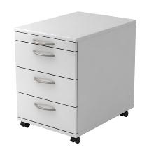 Rollcontainer BASIC 1606 mit 3 Schubladen nicht abschließbar Weiß/Bogengriff