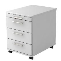 Rollcontainer BASIC 1606 mit 3 Schubladen nicht abschließbar Weiß/Relinggriff