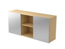Sideboard 1780 PREMIUM mit Schwebetüren (HxBxT) 160x42x74,8cm Ahorn/Silber