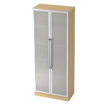 Glastürenschrank 7100G SOLID 5OH nicht abschließbar (BxTxH) 80x42x200,4cm Ahorn/Silber Chromgriff