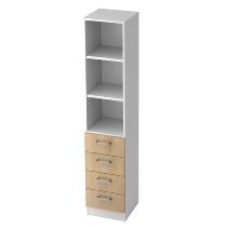 Kombischrank 7600 SOLIDplus Regal 3OH +4 Schubladen unten (BxTxH) 40,6x42x200,4cm Weiß/Eiche Chromgriff