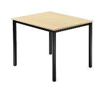 Besprechnungstisch Serie D (BxTxH) 80x80x72cm Quadratfüße 35x35mm Schwarz Tischplatte Ahorn