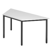 Besprechnungstisch Serie D Trapezform (BxTxH) 160x69x72cm Quadratfüße 35x35mm Schwarz Tischplatte Weiß