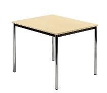 Besprechungstisch Serie D (BxTxH) 80x80x72cm Beine rund Ø40mm verchromt Tischplatte Ahorn