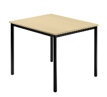 Besprechungstisch Serie D (BxTxH) 80x80x72cm Beine rund Ø40mm Schwarz Tischplatte Ahorn