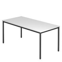 Besprechungstisch Serie D (BxTxH) 160x80x72cm Beine rund Ø40mm Schwarz Tischplatte Weiß