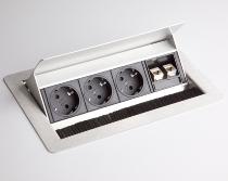 Einbau-Datendose ELDATA0 3x Steckdose VDE +2x RJ45 Cat.6 versenkbar (ohne Einbau)