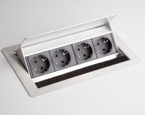 Hammerbacher Einbau-Steckdosenleiste ELDOSE0 4x Steckdosen VDE versenkbar (ohne Einbau)