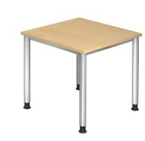 Schreibtisch Serie HS08 4-Fuß Rund (BxTxH) 80 x 80 x 68,5 -81cm Ahorn/Silber