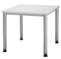 Schreibtisch Serie HS08 Arbeitshöhe 68-76cm (BxT) 80 x 80cm Lichtgrau/Silber