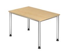 Schreibtisch Serie HS12 4-Fuß Rund (BxTxH) 120 x 80 x 68,5 -81cm Ahorn/Silber