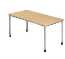 Schreibtisch Serie HS16 4-Fuß Rund (BxTxH) 160 x 80 x 68,5 -81cm Ahorn/Silber