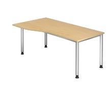 Schreibtisch Freiform Serie HS18 4-Fuß Rund (BxTxH) 180 x 100 x 68,5 -81cm Ahorn/Silber