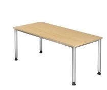 Schreibtisch Serie HS19 4-Fuß Rund (BxTxH) 180 x 80 x 68,5 -81cm Ahorn/Silber
