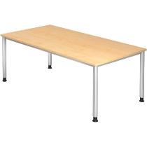 Schreibtisch Serie HS2E 4-Fuß Rund (BxTxH) 200 x 100 x 68,5 -81cm Ahorn/Silber