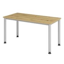 Hammerbacher Schreibtisch Serie HS614 Mini Home-Office 4-Fuß rund (BxT)140x67cm Asteiche/Silber