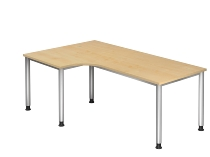 Schreibtisch Winkelform 90° Serie HS82 4-Fuß Rund (BxTxH) 200 x 120 x 68,5 -81cm Ahorn/Silber