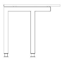 Hammerbacher JFUK/S verkürzte Schreibtischfüße zu J-Serie silberfarben (Aufpreis Set)