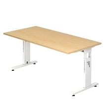 Schreibtisch Serie OS16/W Arbeitshöhe 65-85cm (BxT) 160x80cm Ahorn/Weiß