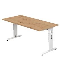 Schreibtisch C-Fuß 160x80cmAsteiche/Weiß