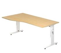 Schreibtisch Serie OS18/W Freiform Arbeitshöhe 65-85cm (BxT) 180x80/100cm Ahorn/Weiß
