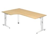 Schreibtisch Serie OS82/W Winkelform 90° Arbeitshöhe 65-85cm (BxT) 200x120cm Ahorn/Weiß