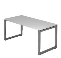 Hammerbacher Schreibtisch Serie RS16 O-Fuß (BxTxH) 160x80x65-85cm Grau/Graphit