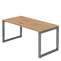 Hammerbacher Schreibtisch Serie RS16 O-Fuß (BxTxH) 160x80x65-85cm Asteiche/Graphit