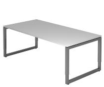 Hammerbacher Schreibtisch Serie RS2E O-Fuß (BxTxH) 200x100x65-85cm Grau/Graphit