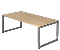 Hammerbacher Schreibtisch Serie RS2E O-Fuß (BxTxH) 200x100x65-85cm Eiche/Graphit
