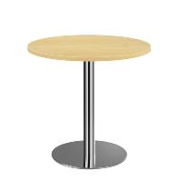 Besprechungstisch STF08 mit Chromsäule Tischplatte rund Ø80cm Ahorn/Chrom