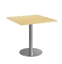 Besprechungstisch STF88 mit Chromsäule Tischplatte viereckig 80x80cm Ahorn/Chrom
