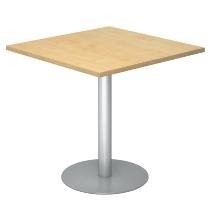 Besprechungstisch STF88 Gestell Silber Tischplatte viereckig 80x80cm Ahorn/Silber