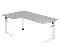 Schreibtisch Serie US82/W (BxT) 200 x 120cm Winkelform 90° inkl. Kabelwanne Arbeitshöhe 68-86cm Tischplatte Grau / Gestell Weiß