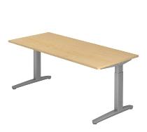 Hammerbacher XB19 Schreibtisch C-Fuß (BxT) 180x80cm Ahorn/Silber