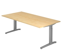 Hammerbacher XB2E Schreibtisch C-Fuß (BxT) 200x100cm Ahorn/Silber