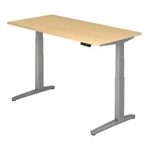 Sitz-Steh-Schreibtisch XBHM16 elektrisch (BxT) 160x80cm Ahorn/Silber