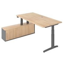 Steh-/Sitz-Schreibitischkombination XBHM2C elektr. höhenverstellbar Eiche/Graphit