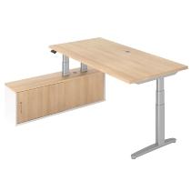 Steh-/Sitz-Schreibitischkombination XBHM2C elektr. höhenverstellbar Eiche/Silber