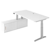 Steh-/Sitz-Schreibitischkombination XBHM2C elektr. höhenverstellbar Weiß/Silber