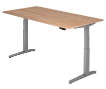Sitz-Steh-Schreibtisch XBHM2E elektrisch (BxT) 200x100cm Nussbaum/Silber
