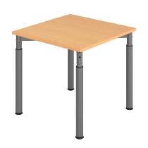 Hammerbach Schreibtisch YS08 4-Füße rund Ø60mm Arbeitshöhe 68-82cm (BxT) 80x80cm Buche/Graphit